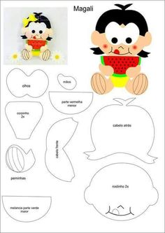 Turma da Mônica Felt Crafts, Diy And Crafts, Paper Crafts, Felt Patterns, Stuffed Toys Patterns, Felt Templates, Felt Dolls, Fabric Dolls, Applique Designs