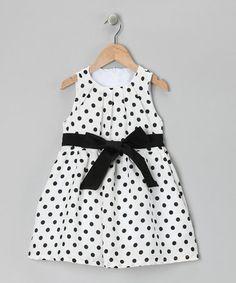 Love this Black & White Polka Dot Dress - Toddler & Girls on #zulily! #zulilyfinds
