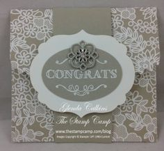 """By Glenda Calkins from """"The Stamp Camp"""", Stampin;' Up! """"For the New Two"""" and """"Simply Wonderful"""" stamp sets, """"Something Borrowed"""" Designer Series Paper, and Something Borrowed Embellishments ..."""