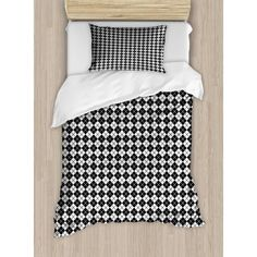Buy Plaid Twin Size Duvet Cover Set, Modern Graphic Argyle Pattern in Black and White Repetitive Diamond Shape Stripes, Decorative 2 Piece Bedding Set with 1 Pillow Sham, Black White, by Ambesonne at Walmart.com