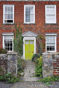 lime green door on red brick house Green Front Doors, Front Door Colors, Composite Door, Classic Garden, Exterior House Colors, Exterior Doors, Old Bricks, Garden Gates, Curb Appeal