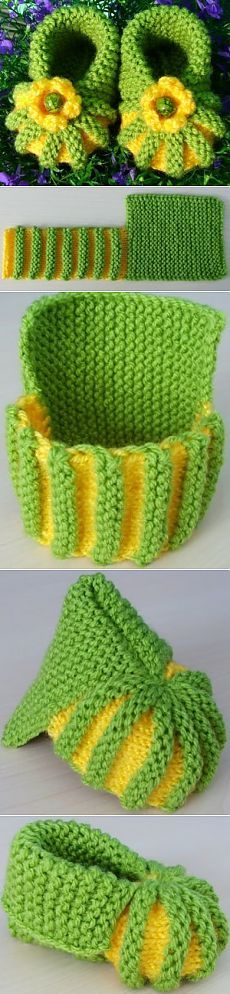 knitting ideas: very very simple ankle boots! / Knit a knitting needle . : knitting ideas: very very simple ankle boots! / Knit a knitting needle … Crochet Baby Mittens, Crochet Baby Shoes, Crochet Slippers, Knitted Baby, Knitting For Kids, Baby Knitting Patterns, Crochet For Kids, Crochet Patterns, Knitting Ideas