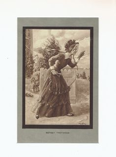 """Antique Print """"Betsey Trotwood"""" Dickens' David Copperfield 