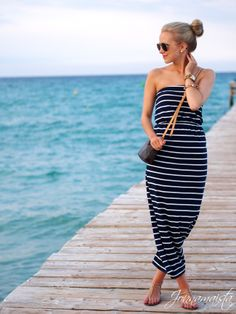 striped maxi dress with ray bans, cute gold watch, and hair up in a bun! casual and cute!