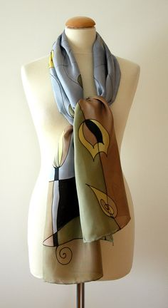 Silk scarf Hand painted Black-Cream-Yellow-Brown-Grey от gilbea