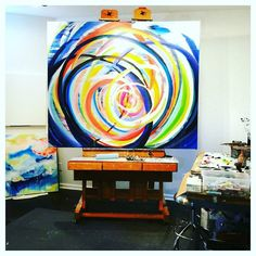 Showing you a glempse into my studio is not the easiest thing to do.  This is a 5ft x 6ft oil painting on canvas that I have been working on for a while. I have been sharing my libe for painting and my process on snap chat. (Suzefordart) You get the show with out the paint fumes! Hahaha!  Come on over and have some fun!