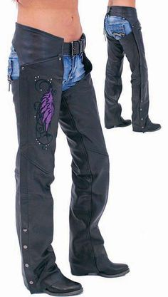 Purple Wings Leather Chaps for Women with Pant Pockets - these should match my Harley Jacket  $149.00