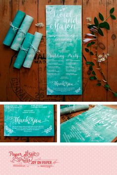 Rolled wedding programs in your wedding colors by PaperStreetPress, $35.00