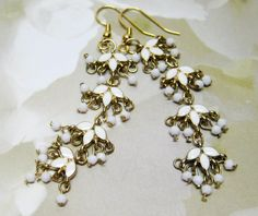 Long White and Gold Earrings  Metal Earrings  by MyGemstoneDesigns