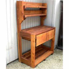 Redwood Outdoor Potting Bench Top Shelve ideas