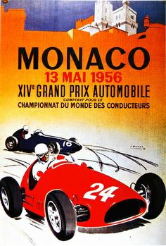 Vintage Poster  F1  Monaco Grand Prix 1956