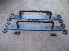 Wrought Iron Rams Horn and Twist Door Pulls Hand Forged Artisan Blacksmith OOAK