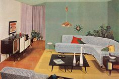 """theniftyfifties: """"Mid-century living room design by Linden and Ramona for the Sherwin-Williams 1956 Home Decorator booklet. 1950s Living Room, Mid Century Living Room, Mid Century House, Living Rooms, Retro Room, Vintage Interior Design, Modern Interior, Retro Home Decor, 70s Decor"""