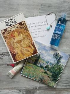 Book. Impresionism. Alfons Mucha. Natural cosmetics. Yves Rocher.