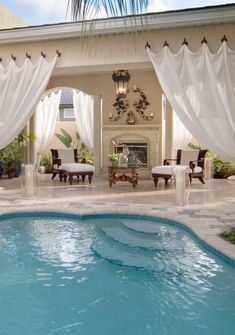 Everyone loves luxury swimming pool designs, aren't they? We love to watch luxurious swimming pool pictures because they are very pleasing to our eyes. Now, check out these luxury swimming pool designs. Outdoor Rooms, Outdoor Living, Outdoor Curtains, Deck Curtains, Outdoor Lounge, Hanging Drapes, Canvas Curtains, Privacy Curtains, Outdoor Privacy