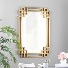 Willa Arlo Interiors @ Wayfair- Rectangle Gold Wall Mirror { Love this for the powder bath } Mirror Decor Living Room, Wall Decor, Wall Art, Oversized Wall Mirrors, Large Mirrors, Spiegel Design, Mirror Inspiration, Gold Walls, Luxury Interior Design