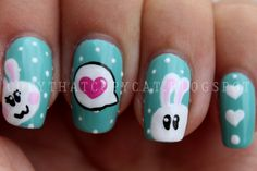 Easter Bunny Nails ♥ Source: Copy That Copy Cat Nails