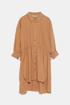 ZARA - Female - Long poplin shirt - Caramel - Modest Outfits, Modest Clothing, Zara Women, Hijab Fashion, Tunic Tops, One Piece, Shirt Dress, Model, Shirts