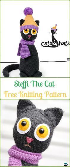 Amigurumi Steffi The Cat Softies Toy Free Knitting Pattern - Knit Cat Toy Softies Patterns Amigurumi Knit Cat Toy Softies Free Patterns: Cat Plushie Toys Knitting Patterns, Window cats, Parlor Cat, Bean Cat, Cat Puppet and more kids cat toy gifts Knitted Cat, Knitted Animals, Knitted Dolls, Chat Crochet, Crochet Baby Toys, Animal Knitting Patterns, Crochet Patterns Amigurumi, Knit Patterns, Dino Le Dinosaure