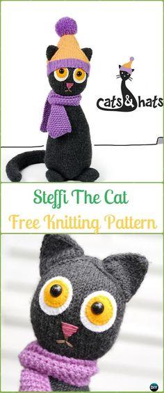 Amigurumi Steffi The Cat Softies Toy Free Knitting Pattern - Knit Cat Toy Softies Patterns