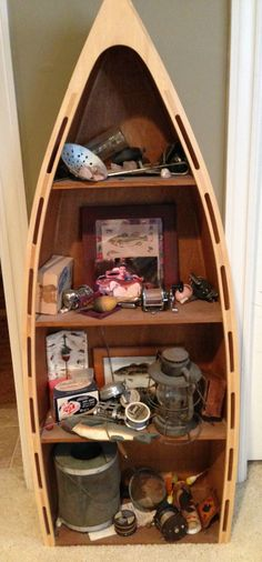 boat shelf and fishing lure collection from Grandpa