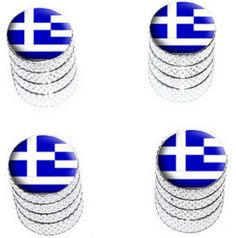 """Amazon.com : (4 Count) Cool and Custom """"Diamond Etching Greek Flag Top with Easy Grip Texture"""" Tire Wheel Rim Air Valve Stem Dust Cap Seal Made of Genuine Anodized Aluminum Metal {Royal BMW Silver and Blue Colors - Hard Metal Internal Threads for Easy Application - Rust Proof - Fits For Most Cars, Trucks, SUV, RV, ATV, UTV, Motorcycle, Bicycles} : Sports & Outdoors"""