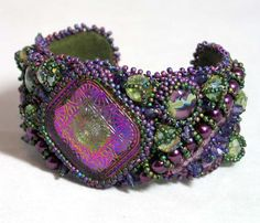 Bead Embroidered Cuff Bracelet  Purple Arabesque by HannahRachel, $280.00