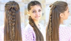 Half-Up bow combo cute girls hairstyles mädchen frisuren, frisuren bilder, Cute Girls Hairstyles, Easy Hairstyles For Long Hair, Elegant Hairstyles, Girl Hairstyles, Braided Hairstyles, Teenage Hairstyles, School Hairstyles, Popular Hairstyles, Hairstyles Haircuts
