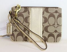 Coach Signature Stripe Wristlet. Starting at $1 on Tophatter.com!#tophattergifts