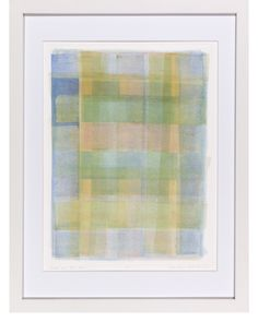 """Green And Blue Plaid"" by Ellen Levine Dodd - Monoprint on heavy archival cotton rag paper framed in contemporary white frame. - 13"" x 17"" - available for sale"