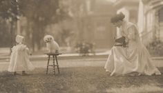 "pinkbasementgarden: "" Florence Sallows photographing daughter and dog """