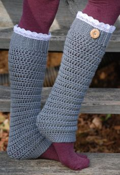 Women's Crochet Leg Warmers with Lace.