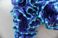 Purple and Light Blue Ruffled Scarf - Rozetti Spectra Duet - Tropical Blue