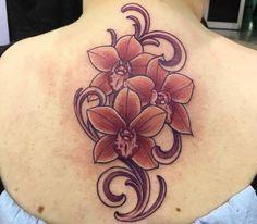 Orchidee Design am Rücken Rot