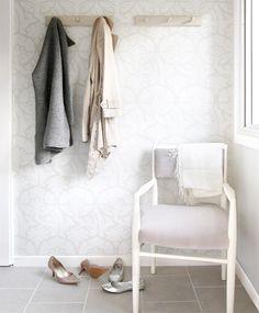 Interior: Dressed all in white By Helen Racanelli | http://www.styleathome.com/homes/interiors/interior-dressed-all-in-white/a/30155/3 | Barbara Barry damask-print wallpaper, porcelain tile flooring looks like limestone