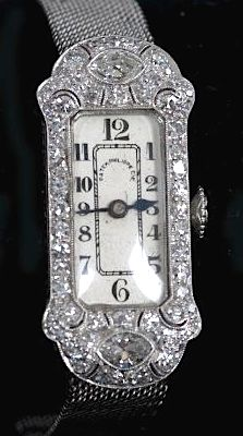 PATEK PHILIPPE ART DECO DIAMOND & PLATINUM LADIES WATCH, with integrated platinum mesh band total weight: 29.9 grams; total diamond weight: 1.01 carats