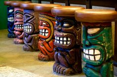 Inside a Hawaiian Restaurant, I saw these colorful Tiki Stool and decided to take some photograph.