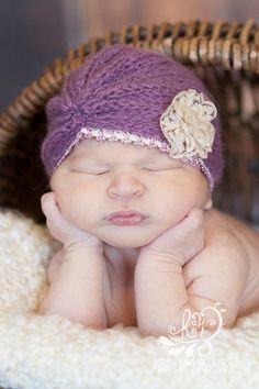 Knitted Mohair Turban Hat photo props newborn  by sebbysgrandma, $19.00