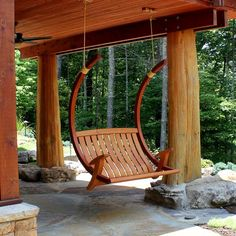 Relax in unrivaled style and comfort with our deluxe porch swing. Inspired by the flowing curves of oriental timber frame architecture, this design swings on silent bushings when attached to its optional cantilevered stand. Weatherproofing is accomplished