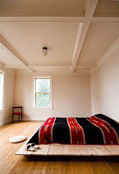 platform bed with a Navajo blanket - swoon