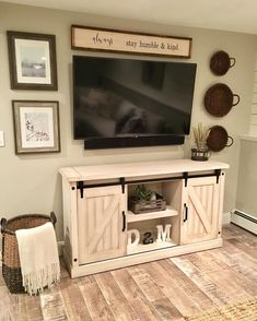 Wall Mounted Tv With Rustic Touches Surrounding Home Decor