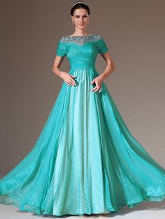 A-line/Princess Bateau Short Sleeves Ruffles Floor-length Chiffon Mother of the Bride Dresses