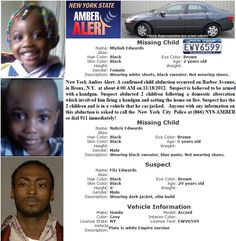 UPDATE: An Amber Alert was issued for the missing kids, but then canceled after they were found in the vehicle unharmed at about noon Sunday in Harlem. Edwards is still at large. Authorities say 5-year-old Nahzir Edwards and 2-year-old Mlyliah Edwards were taken from the Barber Avenue residence by 29-year-old Fitz Edwards early Sunday after he fired a shot at the kids' 26-year-old mother, but missed.     WEB WORLD MANIA!: AMBER Alert 2 Abducted Children - Bronx, New York: