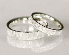 Wedding band set, 14k white gold - Velvet Set. $1,370.00, via Etsy.