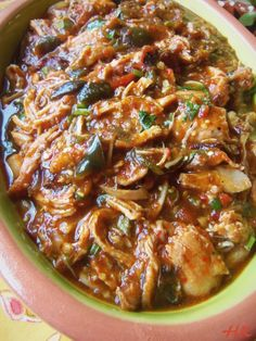 Braised Poblano Chicken...Tips~ This is a great make ahead recipe for gameday or tailgating parties. Reheat in crock pot & serve over nachos w/ all the garnishes listed above.