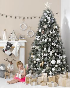 white and grey Christmas Tree