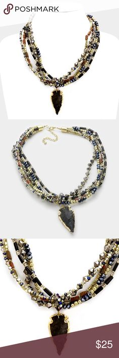 """Natural Stone Arrowhead Necklace • Necklace Size : 19"""" + 3"""" L • Decor Size : 2.5"""" L • Natural stone arrowhead pendant multi-strand boho bead necklace Jewelry Necklaces"""