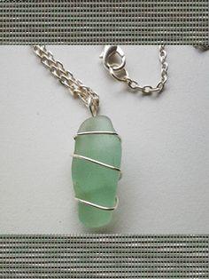 Wire Wrapped Seafoam Sea Glass Necklace