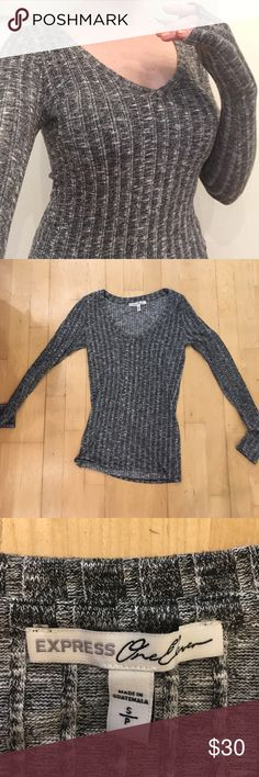 Express Tight Shirt Gray, stretchy material. Could fit XS-S-M. UNABLE TO SHIP UNTIL MAY 24TH! Express Tops Blouses