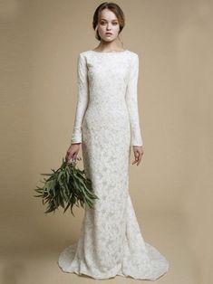 Long Wedding Dresses Scoop Sheath/Column Short Train Lace Sexy Bridal – annapromdress